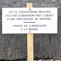 Reprise des concessions au cimetière